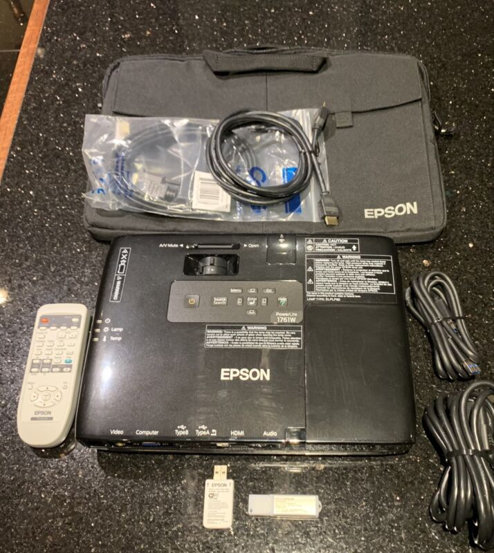 Epson Powerlite 1761W LCD WXGA 2600 Lumen WiFi Projector 11 hours of total use