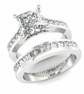 3 2ct Princess Cut Channel Set Engagement Ring Wedding Band Solid 14k White Gold