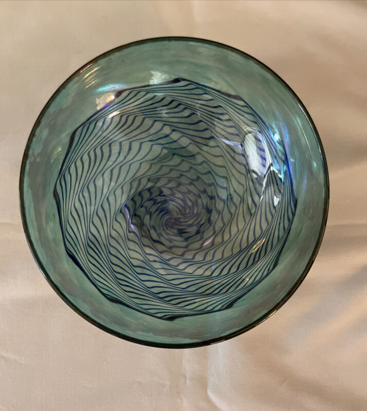 Robert Held Art Glass Blue/Green Candy Bowl/Dish With Spiral (Made in Canada)