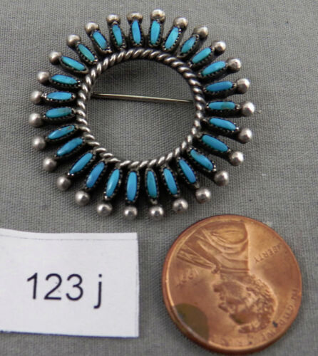 Vintage Zuni Petite Point Turquoise & Sterling Round Pin