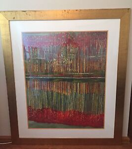 Large decorative painting with gold frame