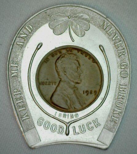 Encased Wheat Cent Good Luck Token Souvenir Washington DC Almost UNC 1929 Cent