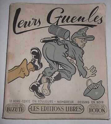 ULTRA-RARE, GENUINE 1944 FRENCH WARTIME BOOK w/12 BIZUTH DESIGN CARTOONS - HOTON, usado comprar usado  Enviando para Brazil
