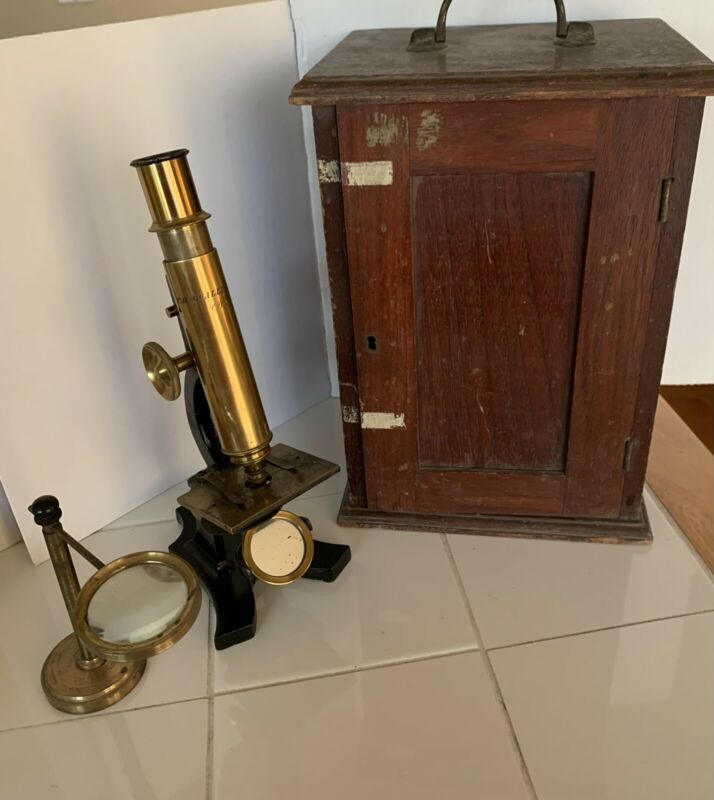 Antique T.H. McAllister Microscope With Original Wooden Carrying Box.