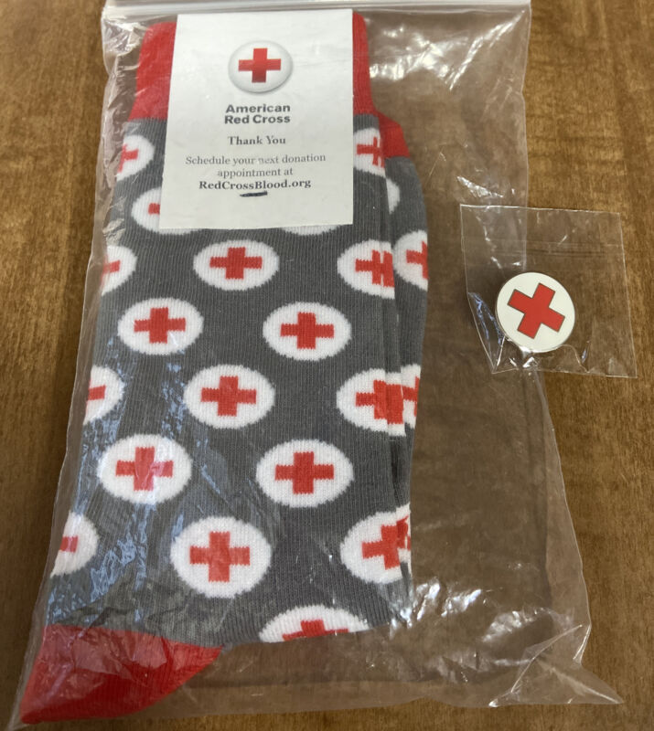 Thank You American Red Cross Socks Gray, Red & White With Bonus Pinback Pin New