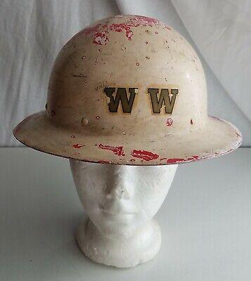 Vintage Fiberglass Hard Hat W Liner Miner Tradesman Steel Workers Old Helmet