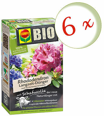 Savings Set: 6 X Compo Organic Rhododendron Long-Term With Wool, 2 KG
