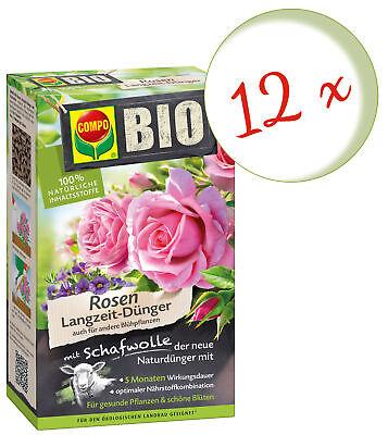 Savings Set: 12 x Compo Organic Roses Long-Term Fertilizer with Sheep's Wool,750