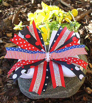 Personalized Embroidered American Holiday Red White and Blue Pinwheel Hair Bow - Red White And Blue Hair Bows