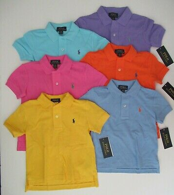 NWT Ralph Lauren Boys Short Sleeve Classic Solid Mesh Polo Shirt Sz 4 6 NEW