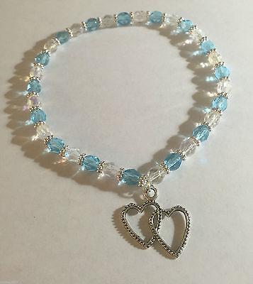 Something Blue Double Heart Czech Turquoise Blue Bride Stretch Ankle Bracelet