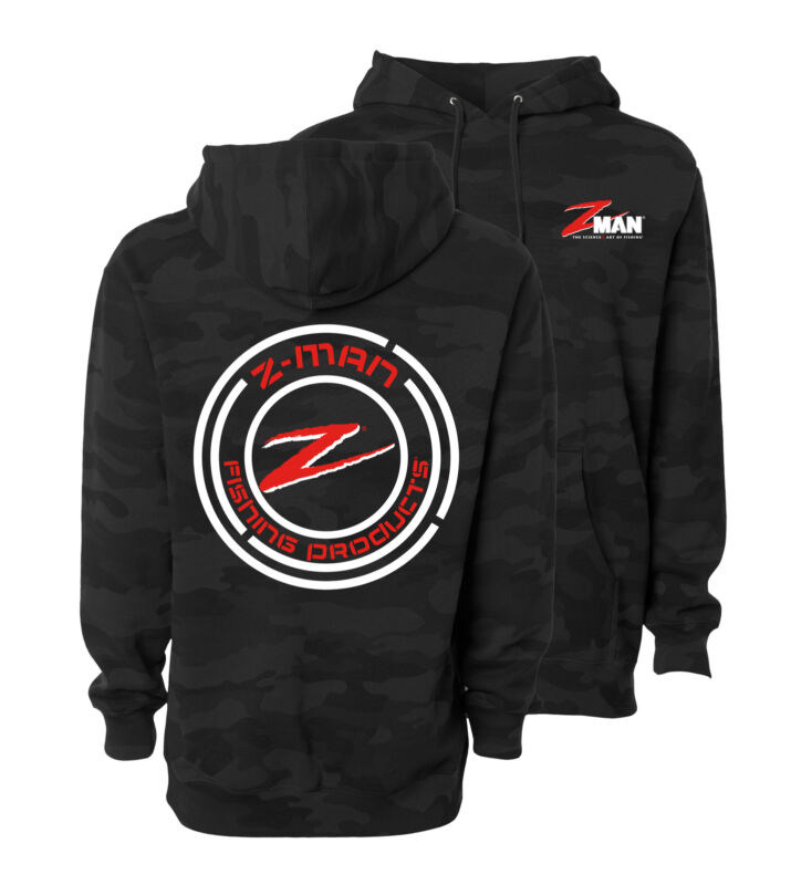 Z-Man Black Camo HoodieZ Zman Logo Fishing Hoody, Cold Weather Outerwear