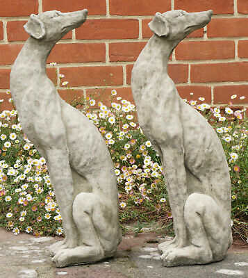 Pair of Heavy Composite Stone Garden Ornament Greyhound Dog Statues circa 1950s