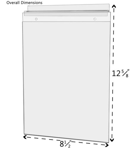 """8.5""""w x11""""h Slatwall Photo Clear Wall Mount Ad Frame Sign Holder"""