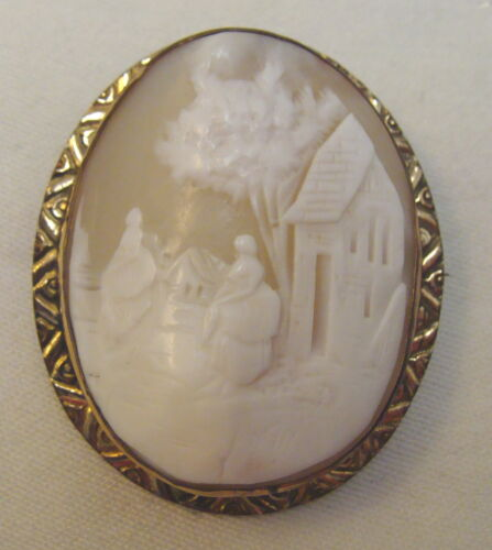 Lovely Antique Large Carved Shell Cameo Brooch, Pendant, Ladies, Gold Filled