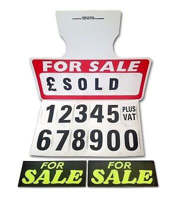 1 Red For Sale Sign Board / 2 Stickers Car Price/Pricing Sun Visor, Vehicle/Auto