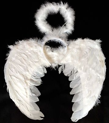 WHITE ANGEL FAIRY WINGS AND HALO XMAS ANGEL FANCY DRESS NATIVITY PLAY CHRISTMAS