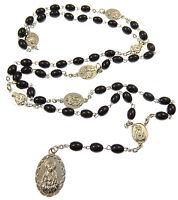 Católica Negro Vidrio Ovalado Seven Penas Medalla María Rosario Cuentas -  - ebay.es