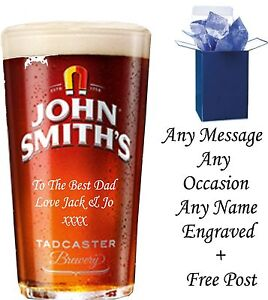 Personalised Engraved 1 pint john smiths beer glass, birthday gifts wedding gift