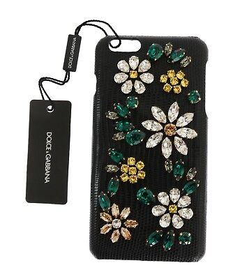 NEW $600 DOLCE & GABBANA Phone Case Leather Black Crystal Flower iPhone6 Plus