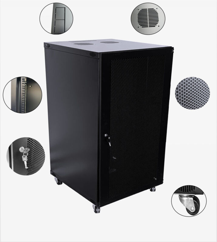 22U Wall Mount Network Server Cabinet Rack Enclosure mesh Door Lock  600MM Deep