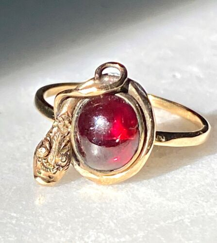 Victorian Snake and Garnet Ring