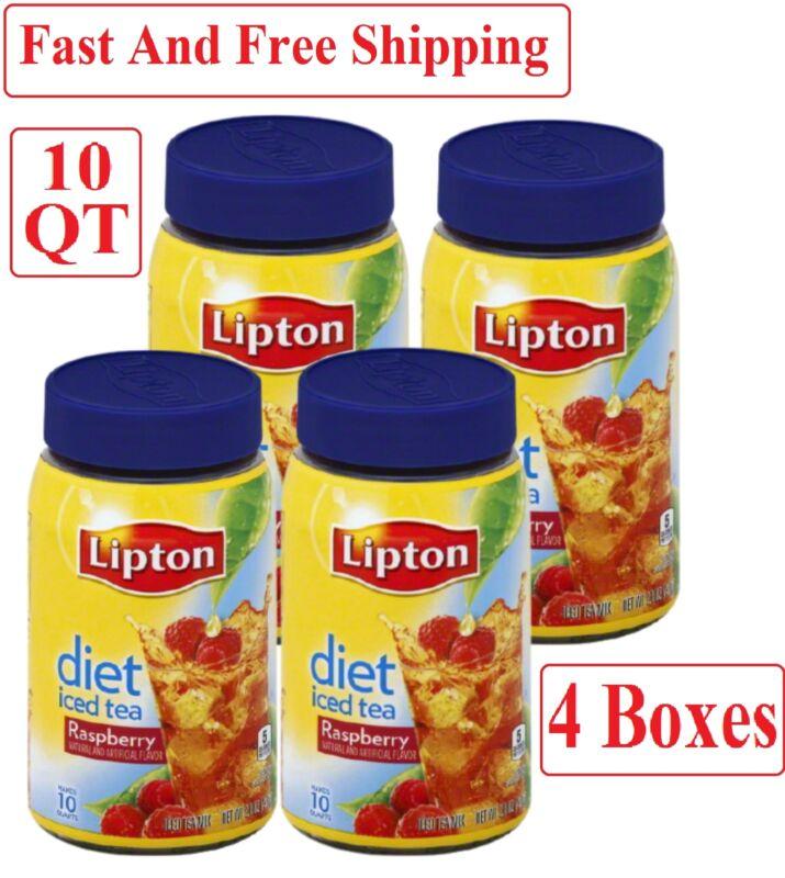 4 Boxes Lipton Diet Raspberry Iced Tea Mix 10 Qt