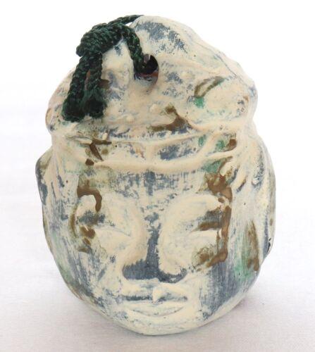 Japanese Clay Bell Stone Buddha Face Head Lucky Charm Handmade Dorei Vintage