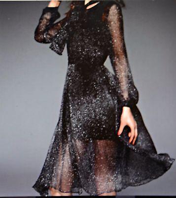 Black Polka Dot Silk Long Sleeve Lovely Midi Dress Size M Stylewe