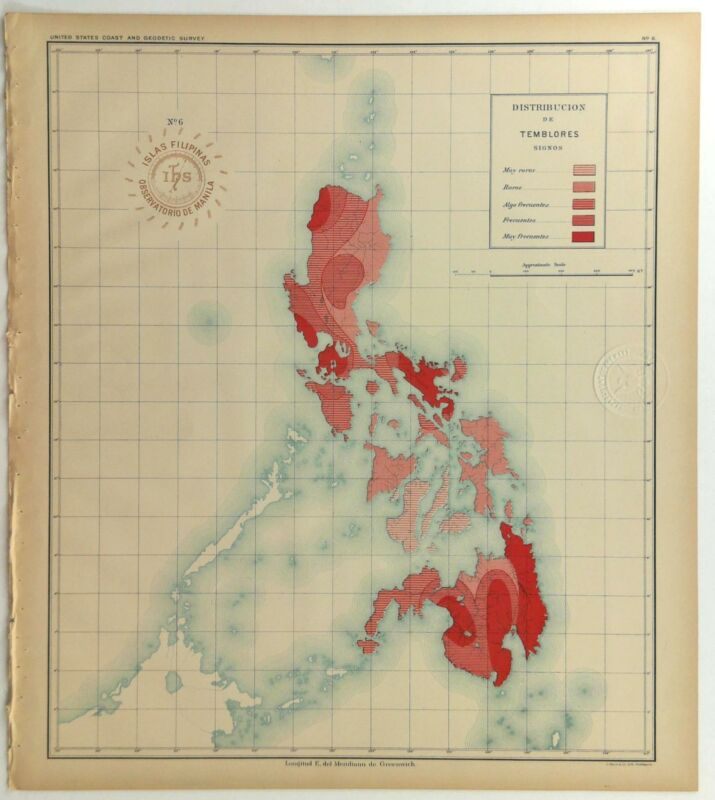 1899 Official US Navy Map Philippine Islands Seismic Earthquake Tremor Frequency