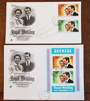Grenada Set & Genadines Minisheet FDCs  – 1973 Royal Wedding FDCs (Se7)