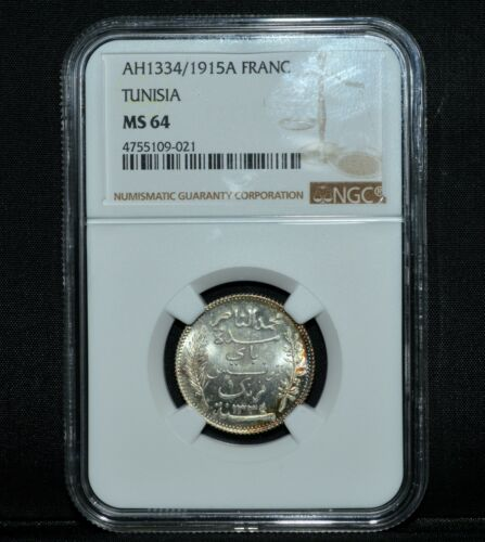 AH1334/1915A TUNISIA FRANC ✪ NGC MS-64 ✪ 1F CHOICE UNCIRCULATED UNC ◢TRUSTED◣