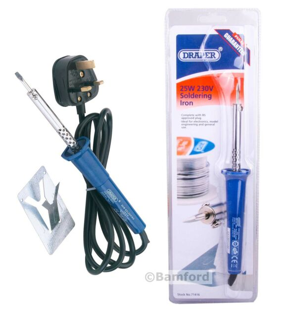 Draper 25W Fine Tip Soldering Iron for Electronics Mains Electric