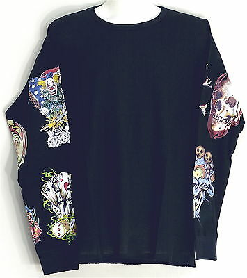 Thermal Light Weight T-shirt Tatoo Graphic Design Sleeves In M-4xl Skulls