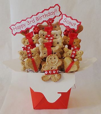 Dog Birthday treat gift basket, dog biscuits, personalized dog gift, dog treats