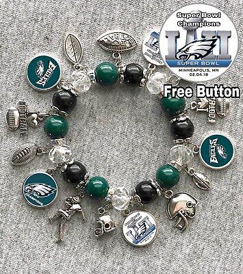 Philadelphia Eagles SUPER BOWL Champions 2018 charm bracelet FREE BUTTON