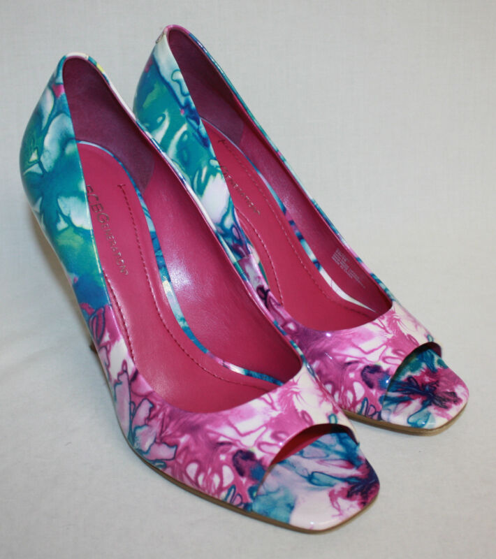 Womens Ladies BCBGeneration Multi-Colored Watercolor Open Toe Heels Shoes Sz 8B