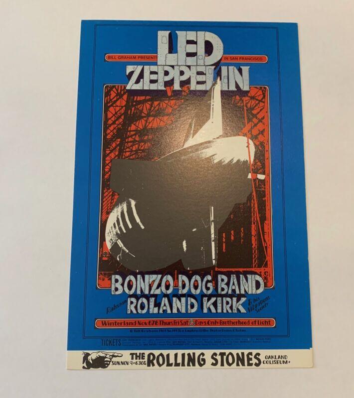 Led Zeppelin and Bonzo Dog Band Original 1969 Concert Postcard (BG-199)