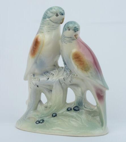 Spaulding China Parakeets Figurine Vintage Statue Birds Perched on Tree Limb