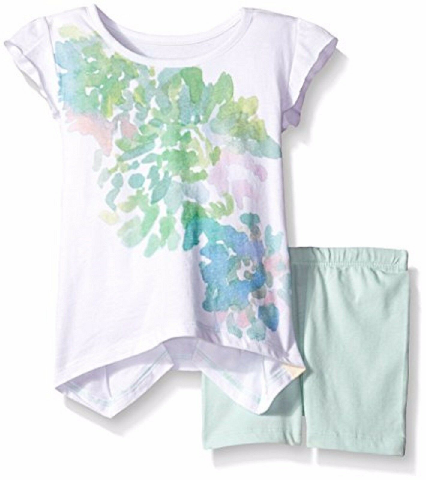 NWT 2 Set of BURT'S BEES baby Girl Organic Floral Tee & Bike