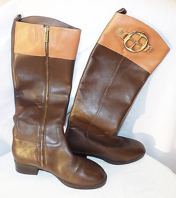 Authentic IMAN Rich Brown Leather Boots Knee High Sz 38/7.5-8 BRAND NEW STUNNING