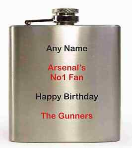 personalised Arsenal hip flask with any name printed