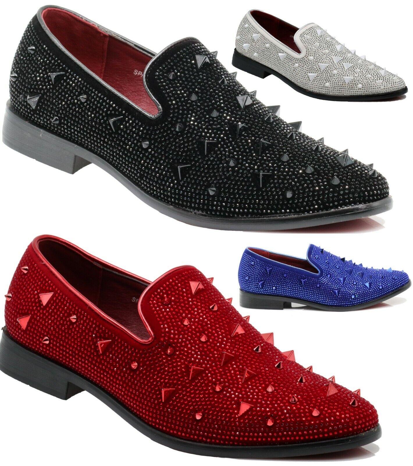 Men Vintage Spikes Sparkle Formal Tuxedo Stage Fashion Slip On Loafer Shoe SPK24