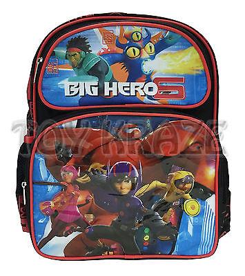 BIG HERO 6 BACKPACK! BLACK RED HEROES WASABI BOYS SCHOOL BOOK BAG 13