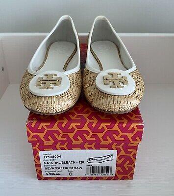 Tory Burch Womens Size 8 White Gold Straw Reva Raffia Ballerina Flats Shoes