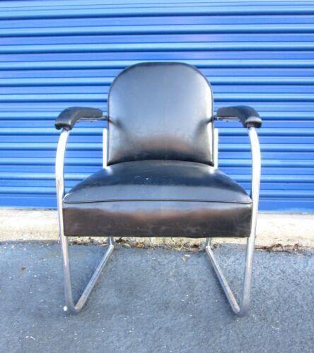Vtg Art Deco Tubular Chrome Lounge Club Arm Chair Black Vinyl Machine Age
