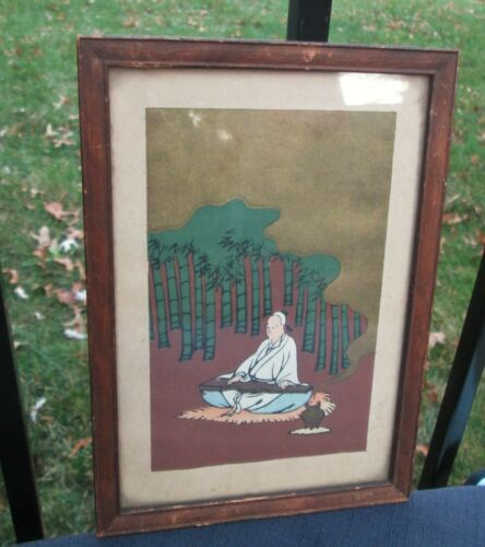 Vintage Miniature Watercolor Painting Man playing Guqin Sitting by Burning Pot