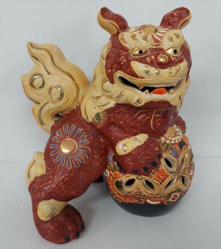 Marked Japanese Kutani Shi-Shi Lion Fu Dog PAIR