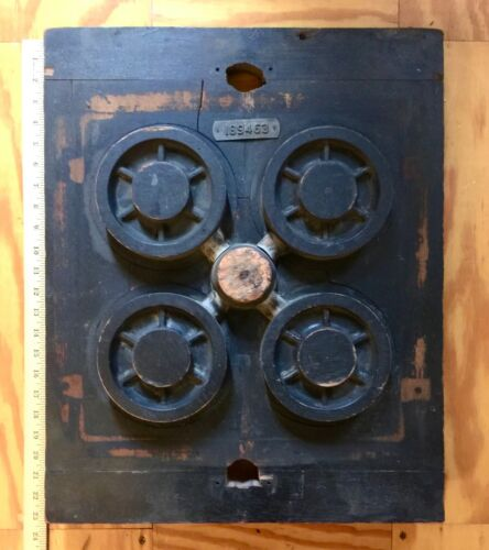 Vintage MCM Large Industrial Wood Foundry 4 Wheel Mold Pattern Steampunk