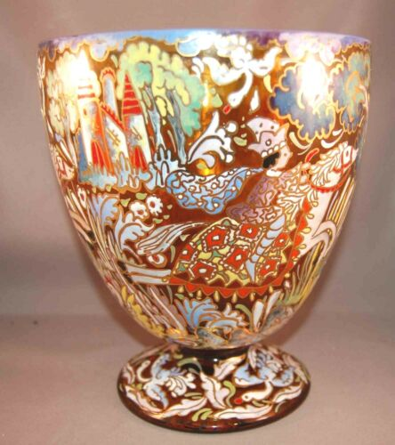 """DIVINE Fantasy Enameled Cire Spanish """"Moser"""" Balwin Plate 143 Footed Vase!"""